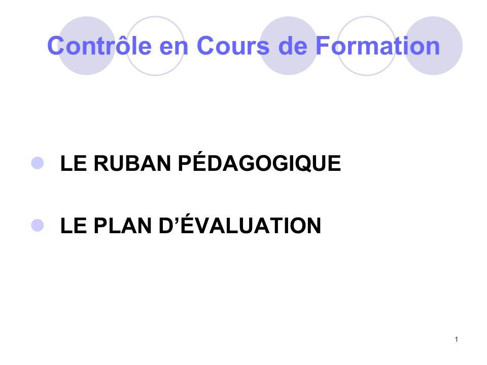 1 Contrôle en Cours de Formation LE RUBAN PÉDAGOGIQUE LE PLAN DÉVALUATION