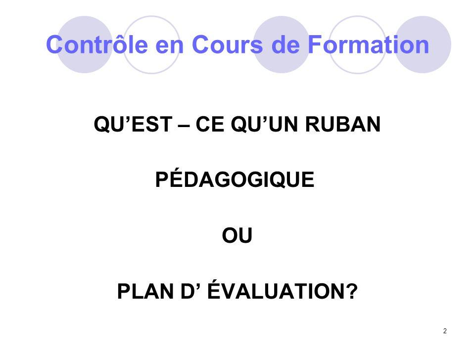 2 Contrôle en Cours de Formation QUEST – CE QUUN RUBAN PÉDAGOGIQUE OU PLAN D ÉVALUATION?