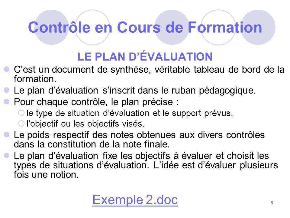6 Contrôle en Cours de Formation LE PLAN DÉVALUATION Cest un document de synthèse, véritable tableau de bord de la formation.