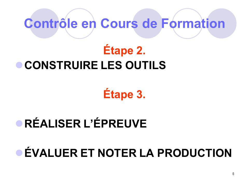 8 Contrôle en Cours de Formation Étape 2.CONSTRUIRE LES OUTILS Étape 3.