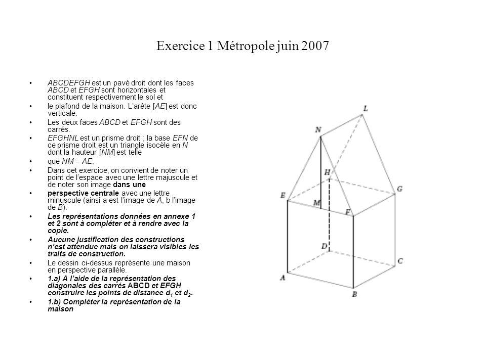 Exercice 1 Métropole juin 2007 ABCDEFGH est un pavé droit dont les faces ABCD et EFGH sont horizontales et constituent respectivement le sol et le pla