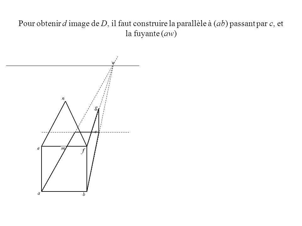 Pour obtenir h image de H, il faut construire la parallèle à (ab) passant par g, et la fuyante (ew)