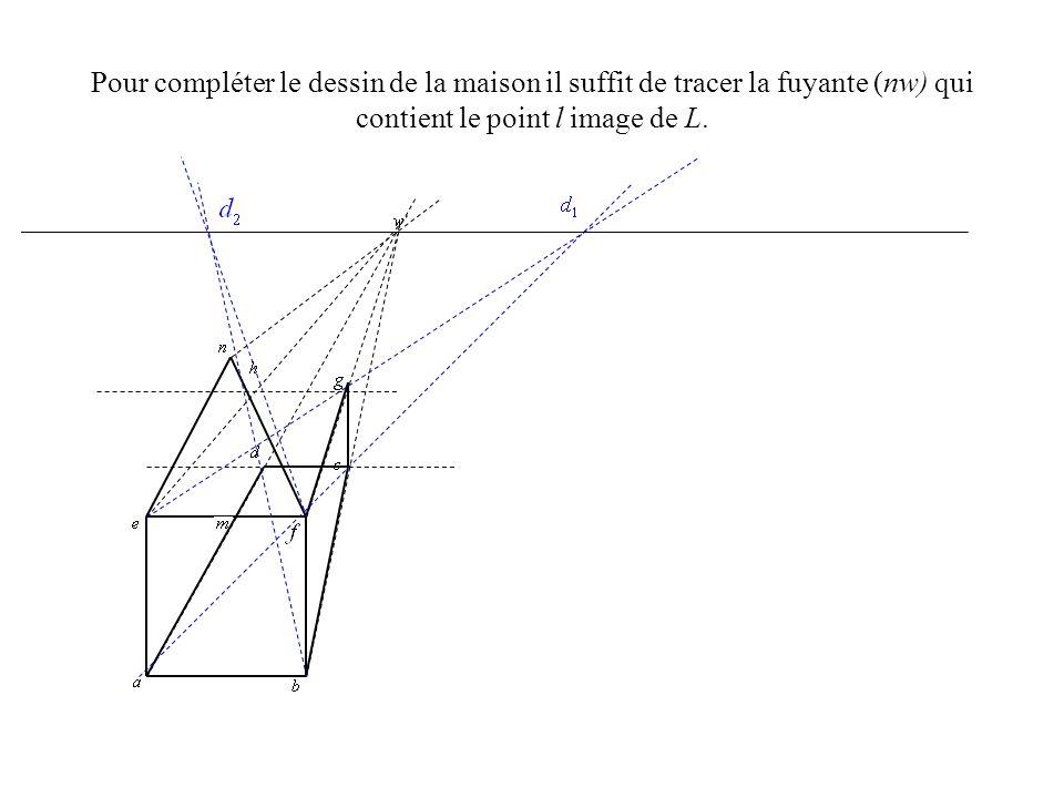 Pour compléter le dessin de la maison il suffit de tracer la fuyante (nw) qui contient le point l image de L.