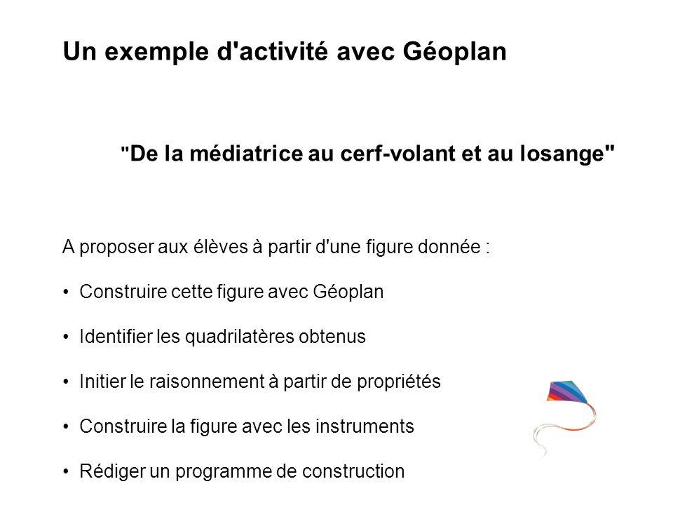 Un exemple d'activité avec Géoplan A proposer aux élèves à partir d'une figure donnée : Construire cette figure avec Géoplan Identifier les quadrilatè
