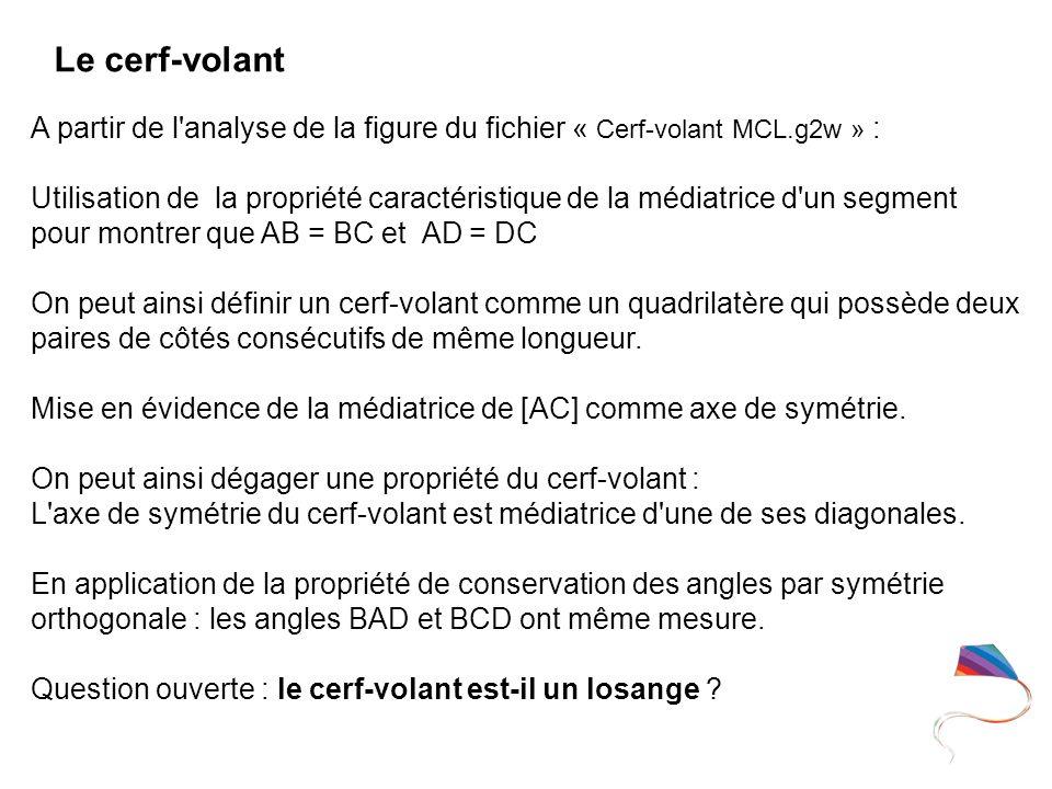A partir de l'analyse de la figure du fichier « Cerf-volant MCL.g2w » : Utilisation de la propriété caractéristique de la médiatrice d'un segment pour