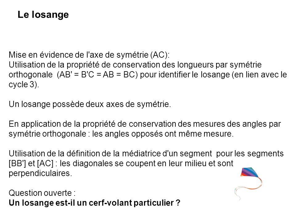 Le losange Mise en évidence de l'axe de symétrie (AC): Utilisation de la propriété de conservation des longueurs par symétrie orthogonale (AB' = B'C =