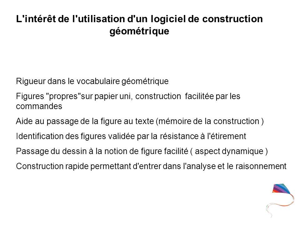 L'intérêt de l'utilisation d'un logiciel de construction géométrique Rigueur dans le vocabulaire géométrique Figures