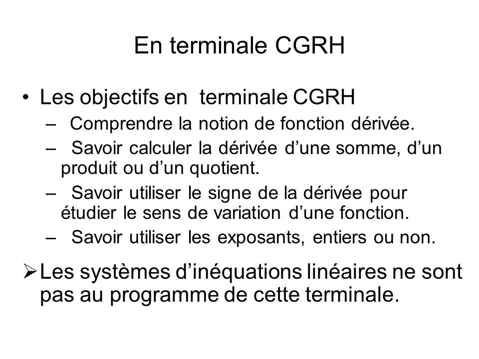 En Terminales Mercatique, Comptabilité et finance des entreprises, Gestion des systèmes dinformation Les objectifs Comprendre la notion de fonction dérivée.