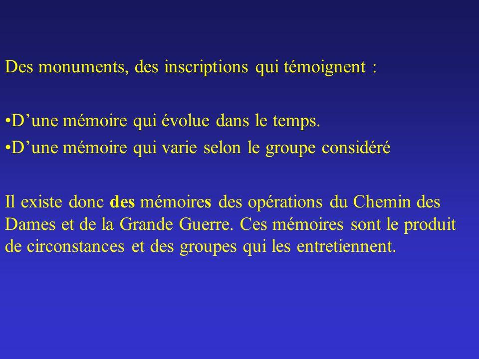 Des monuments, des inscriptions qui témoignent : Dune mémoire qui évolue dans le temps.