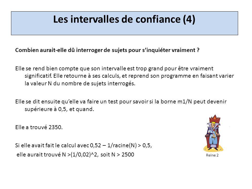Les intervalles de confiance (4) Combien aurait-elle dû interroger de sujets pour sinquiéter vraiment .