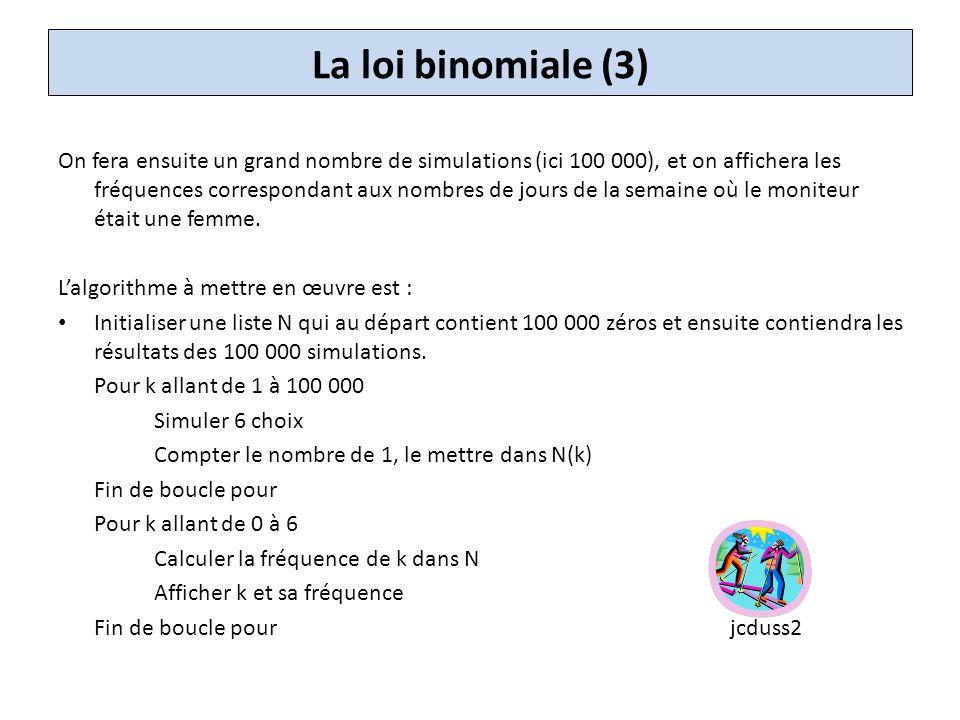 La loi binomiale (4) Variante : JC Dusse cherche seulement à approcher la probabilité davoir un moniteur femme au moins trois jours dans la semaine.