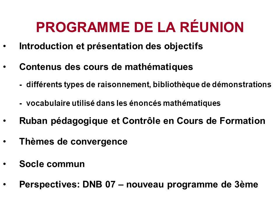 Le contenu du cours de Mathématiques : Collège vocabulaire et démonstrations.ppt