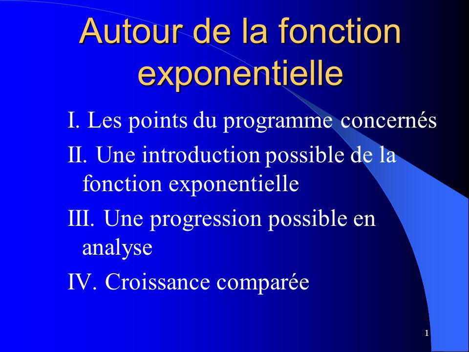 1 Autour de la fonction exponentielle I. Les points du programme concernés II. Une introduction possible de la fonction exponentielle III. Une progres