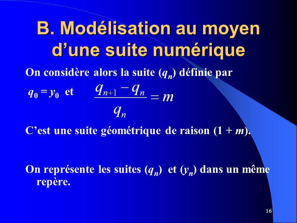16 B. Modélisation au moyen dune suite numérique On considère alors la suite (q n ) définie par q 0 = y 0 et Cest une suite géométrique de raison (1 +
