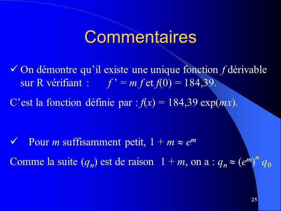 25 Commentaires On démontre quil existe une unique fonction f dérivable sur R vérifiant : f = m f et f(0) = 184,39. Cest la fonction définie par : f(x