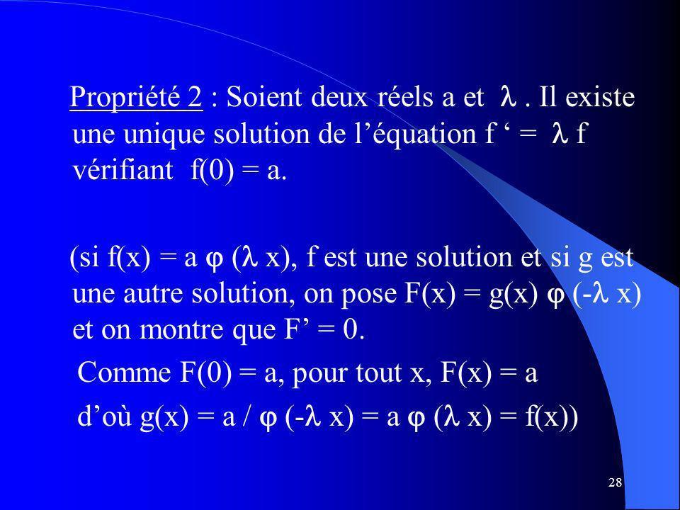 28 Propriété 2 : Soient deux réels a et. Il existe une unique solution de léquation f = f vérifiant f(0) = a. (si f(x) = a ( x), f est une solution et