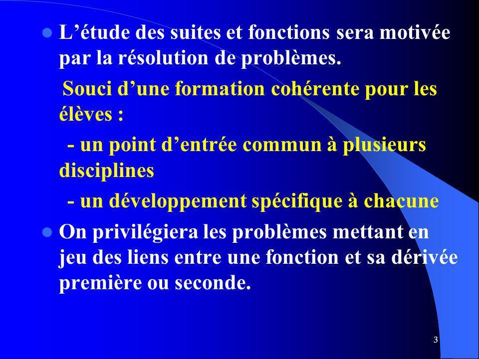 3 Létude des suites et fonctions sera motivée par la résolution de problèmes. Souci dune formation cohérente pour les élèves : - un point dentrée comm