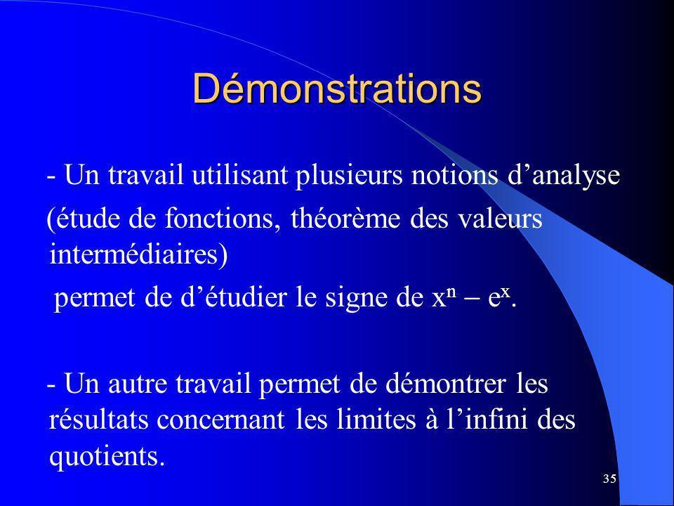 35 Démonstrations - Un travail utilisant plusieurs notions danalyse (étude de fonctions, théorème des valeurs intermédiaires) permet de détudier le si