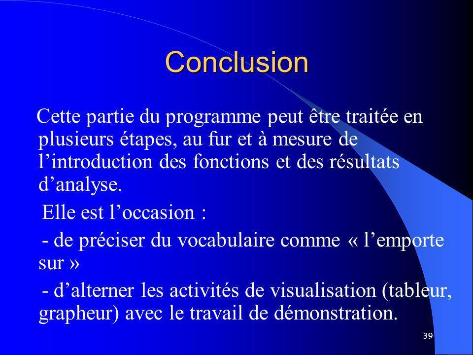 39 Conclusion Cette partie du programme peut être traitée en plusieurs étapes, au fur et à mesure de lintroduction des fonctions et des résultats dana
