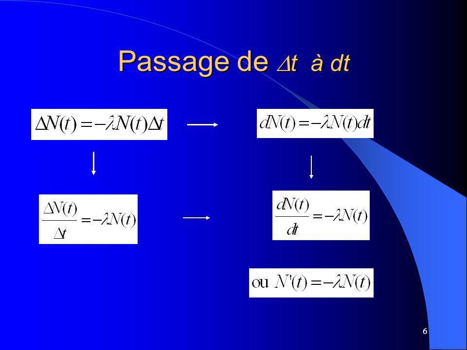 6 Passage de t à dt