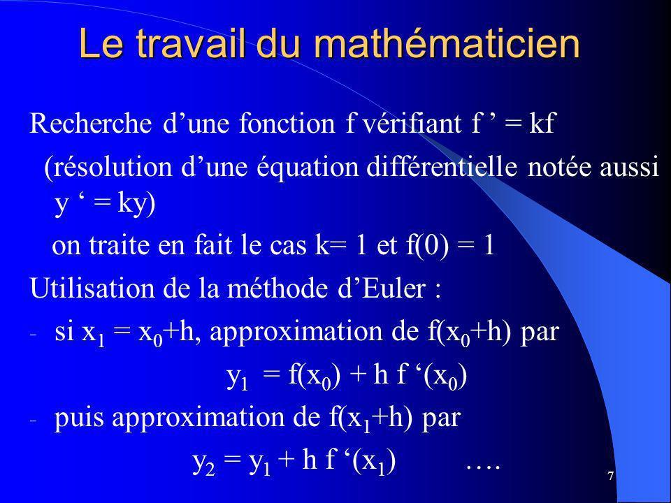 7 Le travail du mathématicien Recherche dune fonction f vérifiant f = kf (résolution dune équation différentielle notée aussi y = ky) on traite en fai