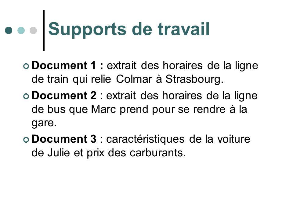 Supports de travail Document 1 : extrait des horaires de la ligne de train qui relie Colmar à Strasbourg. Document 2 : extrait des horaires de la lign