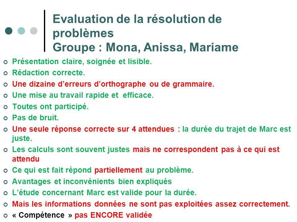 Evaluation de la résolution de problèmes Groupe : Mona, Anissa, Mariame Présentation claire, soignée et lisible. Rédaction correcte. Une dizaine derre