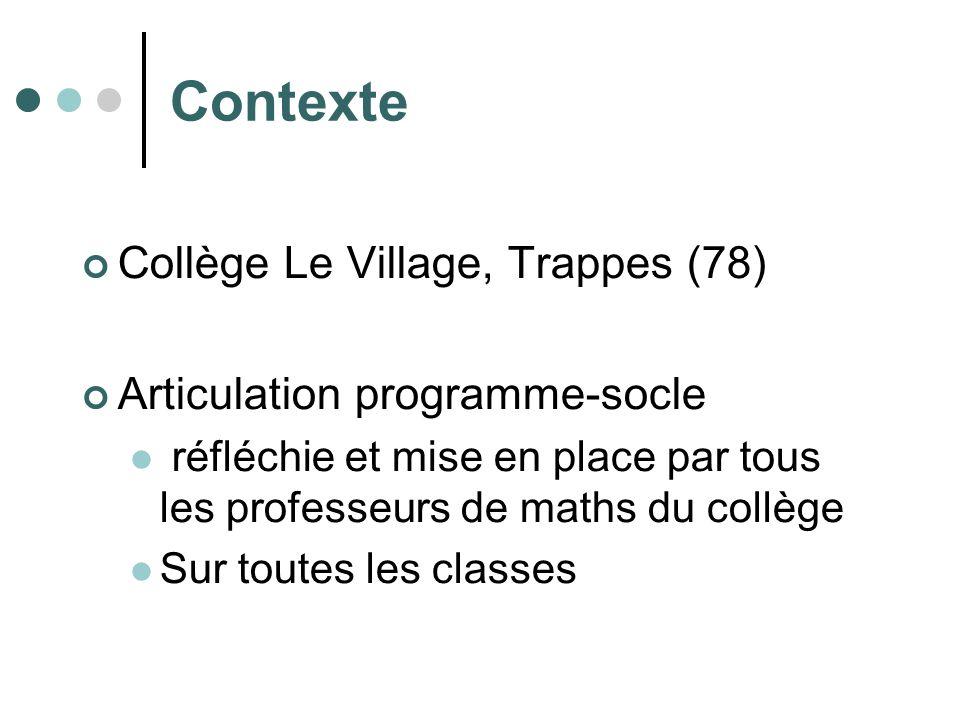 Contexte Collège Le Village, Trappes (78) Articulation programme-socle réfléchie et mise en place par tous les professeurs de maths du collège Sur toutes les classes