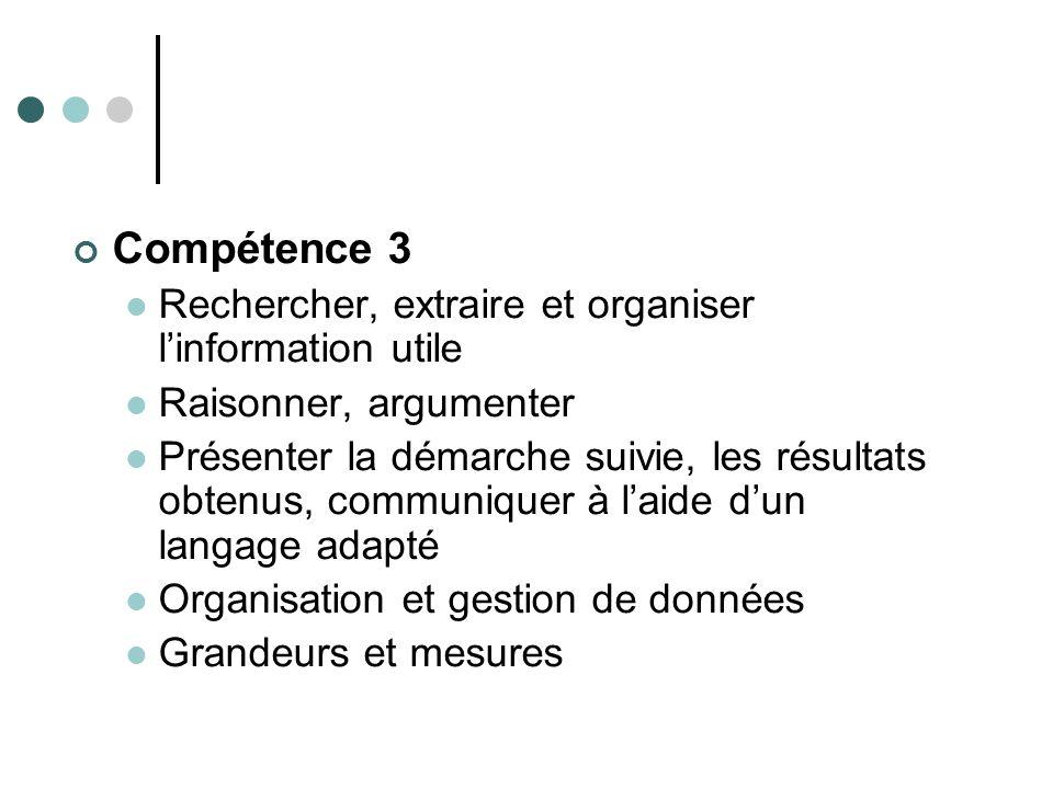 Compétence 3 Rechercher, extraire et organiser linformation utile Raisonner, argumenter Présenter la démarche suivie, les résultats obtenus, communiqu