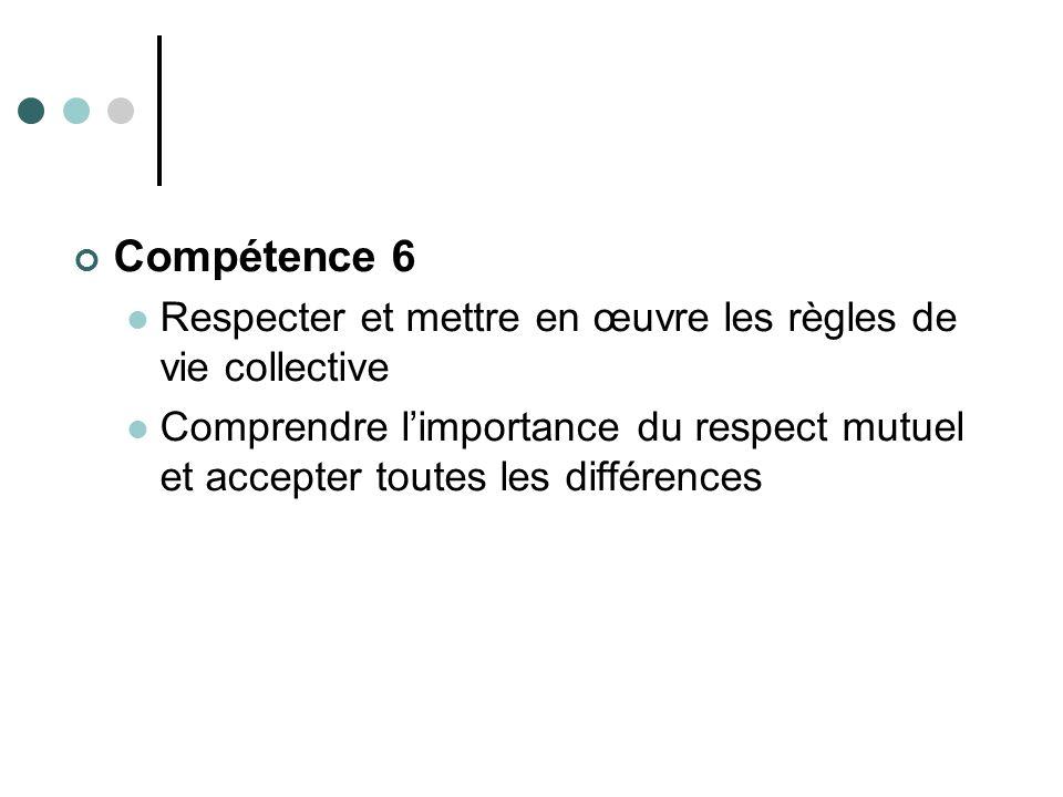 Compétence 6 Respecter et mettre en œuvre les règles de vie collective Comprendre limportance du respect mutuel et accepter toutes les différences