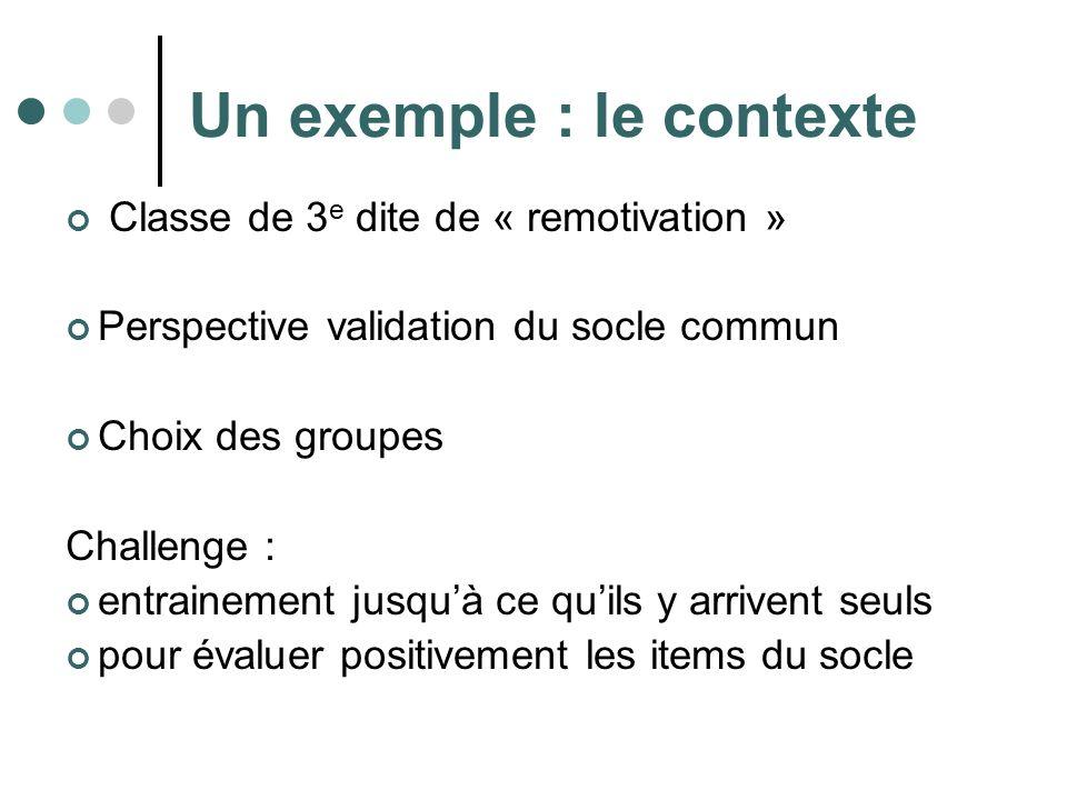 Un exemple : le contexte Classe de 3 e dite de « remotivation » Perspective validation du socle commun Choix des groupes Challenge : entrainement jusquà ce quils y arrivent seuls pour évaluer positivement les items du socle