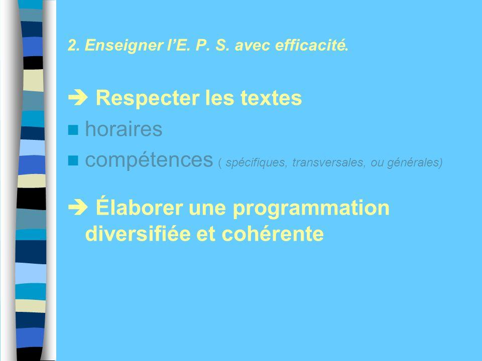 Respecter les textes horaires compétences ( spécifiques, transversales, ou générales) Élaborer une programmation diversifiée et cohérente