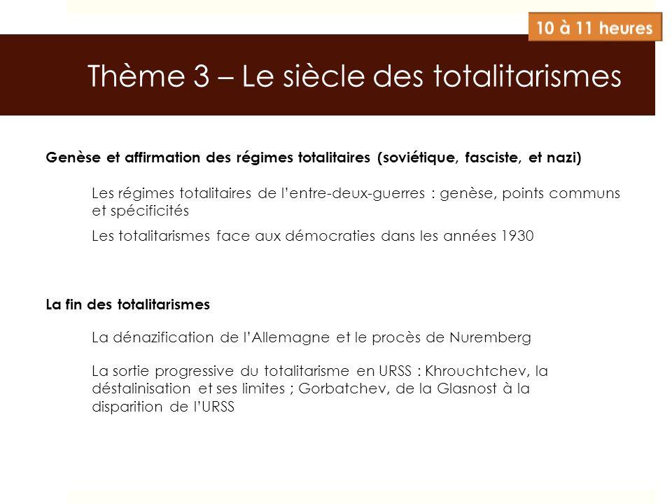 Thème 3 – Le siècle des totalitarismes Genèse et affirmation des régimes totalitaires (soviétique, fasciste, et nazi) Les régimes totalitaires de lent