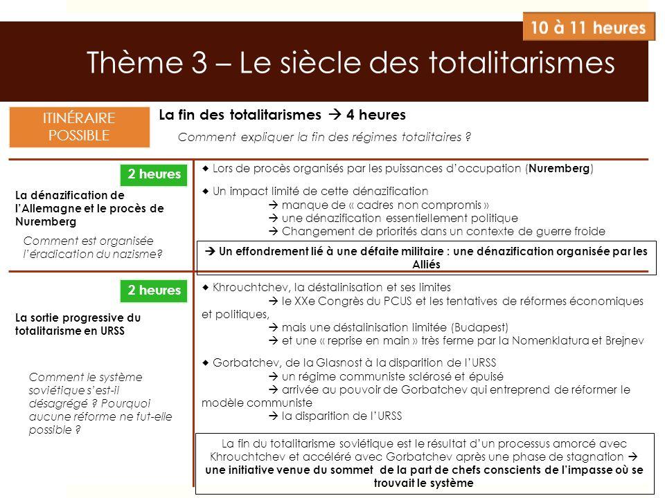 Thème 3 – Le siècle des totalitarismes La fin des totalitarismes 4 heures La dénazification de lAllemagne et le procès de Nuremberg La sortie progress