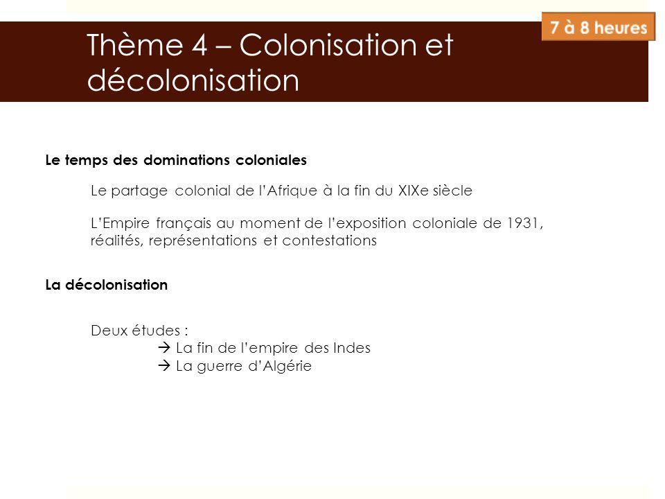 Le temps des dominations coloniales Le partage colonial de lAfrique à la fin du XIXe siècle LEmpire français au moment de lexposition coloniale de 193