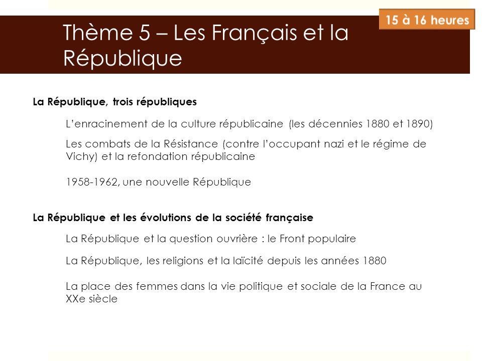 La République, trois républiques Lenracinement de la culture républicaine (les décennies 1880 et 1890) Les combats de la Résistance (contre loccupant