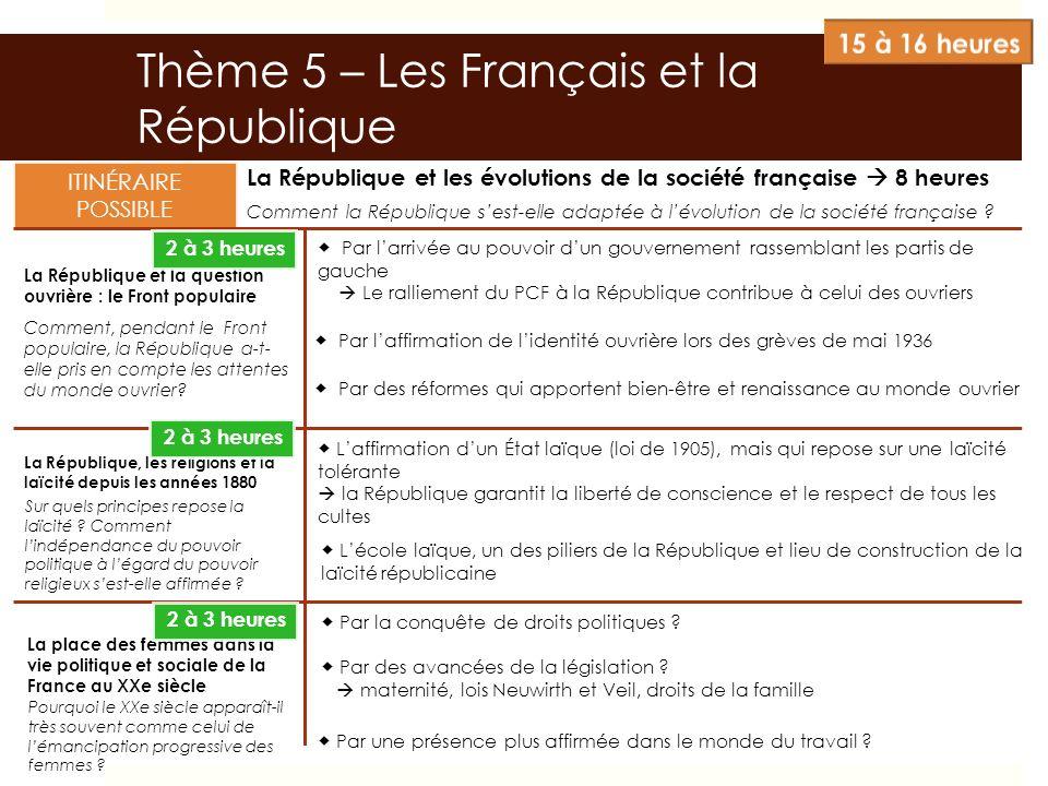 Thème 5 – Les Français et la République La République et les évolutions de la société française 8 heures La République et la question ouvrière : le Fr