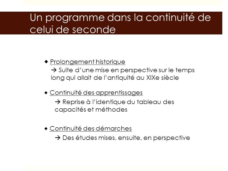 Un programme dans la continuité de celui de seconde Prolongement historique Continuité des apprentissages Suite dune mise en perspective sur le temps