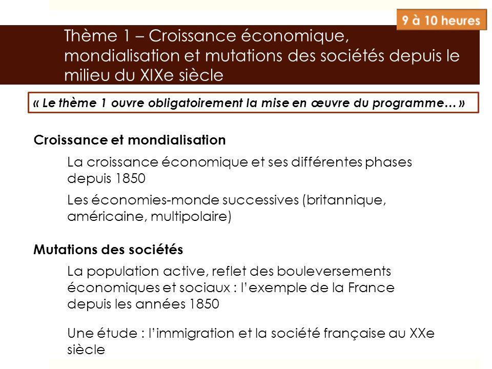 Thème 1 – Croissance économique, mondialisation et mutations des sociétés depuis le milieu du XIXe siècle Croissance et mondialisation La croissance é