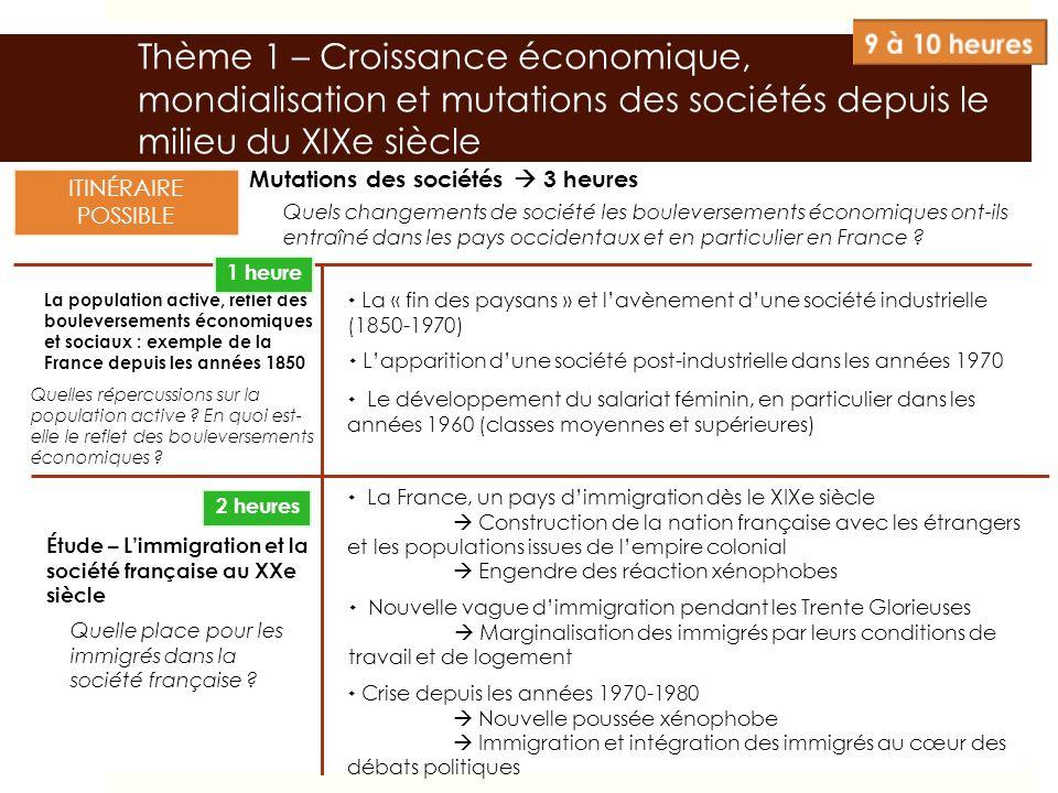 Thème 1 – Croissance économique, mondialisation et mutations des sociétés depuis le milieu du XIXe siècle Mutations des sociétés 3 heures La populatio