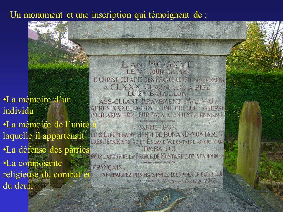 Un monument et une inscription qui témoignent de : La mémoire dun individu La mémoire de lunité à laquelle il appartenait La défense des patries La composante religieuse du combat et du deuil