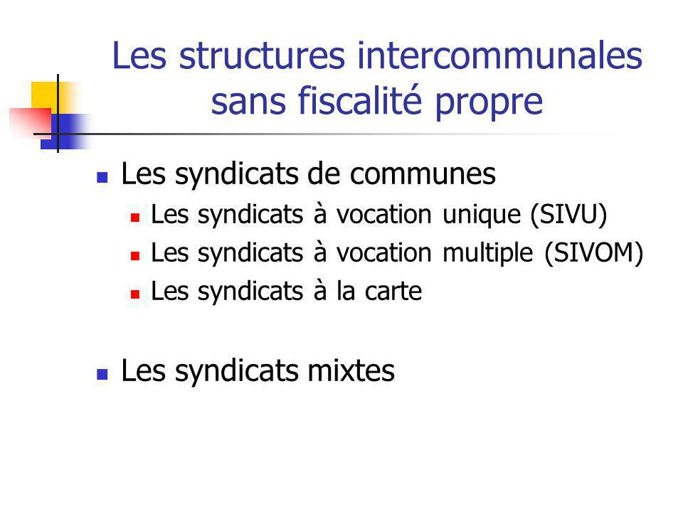 Les structures intercommunales sans fiscalité propre Les syndicats de communes Les syndicats à vocation unique (SIVU) Les syndicats à vocation multipl