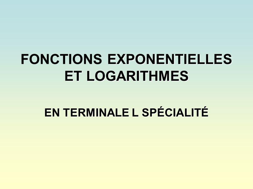 C – LA FONCTION LOGARITHME NÉPÉRIEN Les courbes des fonctions ln et exp sont symétriques par rapport à la droite déquation y = x On tirera partie de cette symétrie pour mettre en évidence les propriétés de la fonction logarithme népérien.