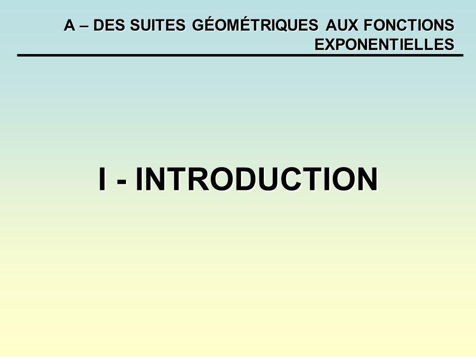 A – DES SUITES GÉOMÉTRIQUES AUX FONCTIONS EXPONENTIELLES Pour tout réel q strictement positif, la fonction exponentielle de base q est la fonction Les propriétés suivantes sont admises : Les fonctions sont définies et dérivables sur R.