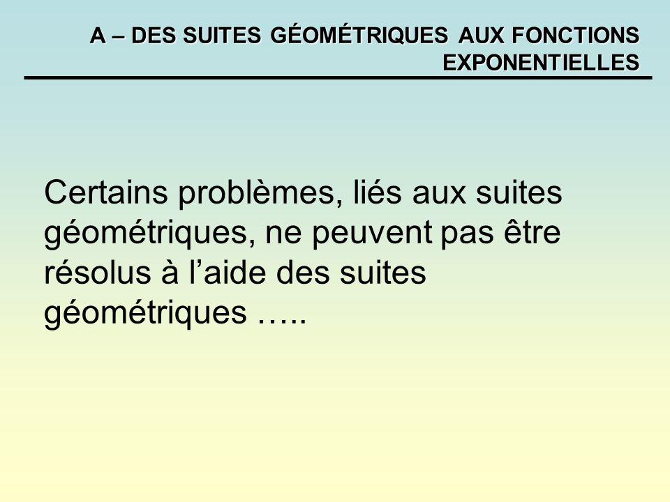 A – DES SUITES GÉOMÉTRIQUES AUX FONCTIONS EXPONENTIELLES Remarques: Lexpression de la dérivée de, lallure des courbes des fonctions exponentielles ainsi que leur comportement à linfini ne font pas partie des objectifs du programme.