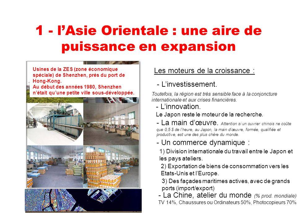 1 - lAsie Orientale : une aire de puissance en expansion Les moteurs de la croissance : - Linvestissement.