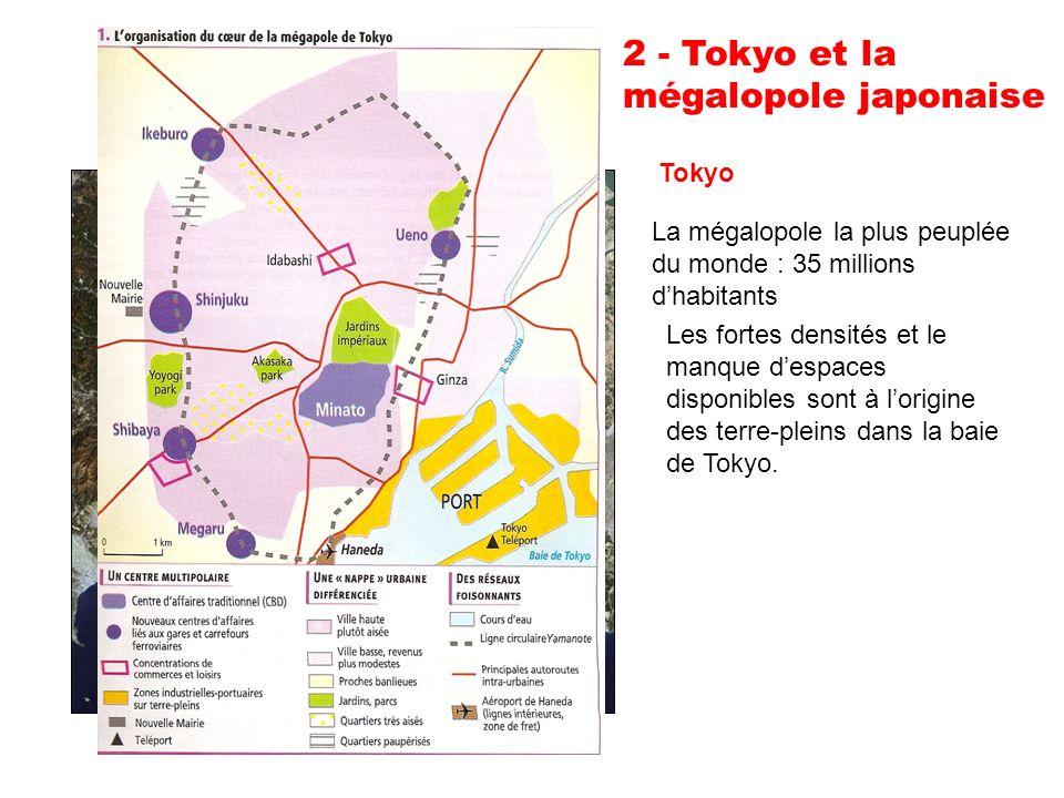 2 - Tokyo et la mégalopole japonaise Tokyo La mégalopole la plus peuplée du monde : 35 millions dhabitants Les fortes densités et le manque despaces disponibles sont à lorigine des terre-pleins dans la baie de Tokyo.