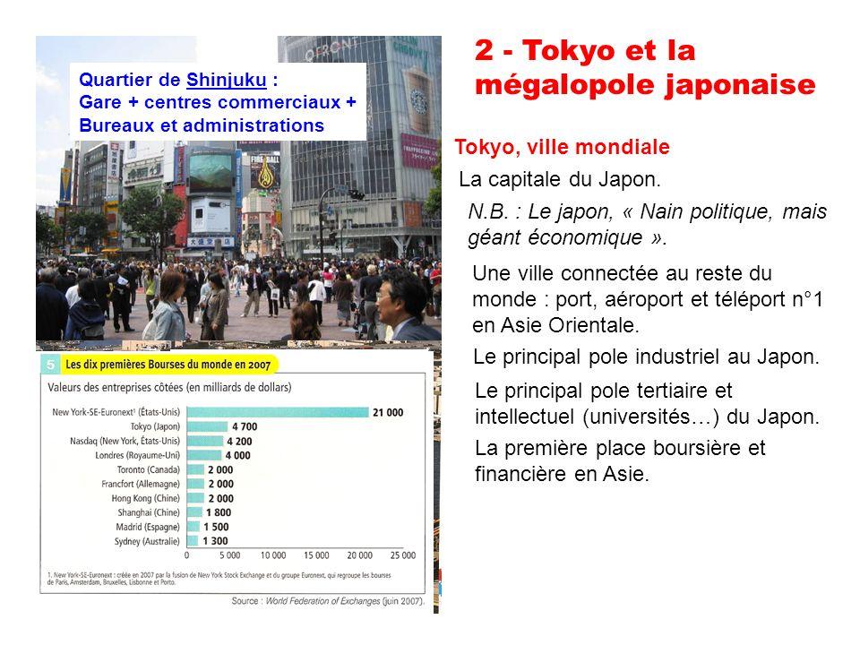 2 - Tokyo et la mégalopole japonaise Tokyo, ville mondiale La capitale du Japon.