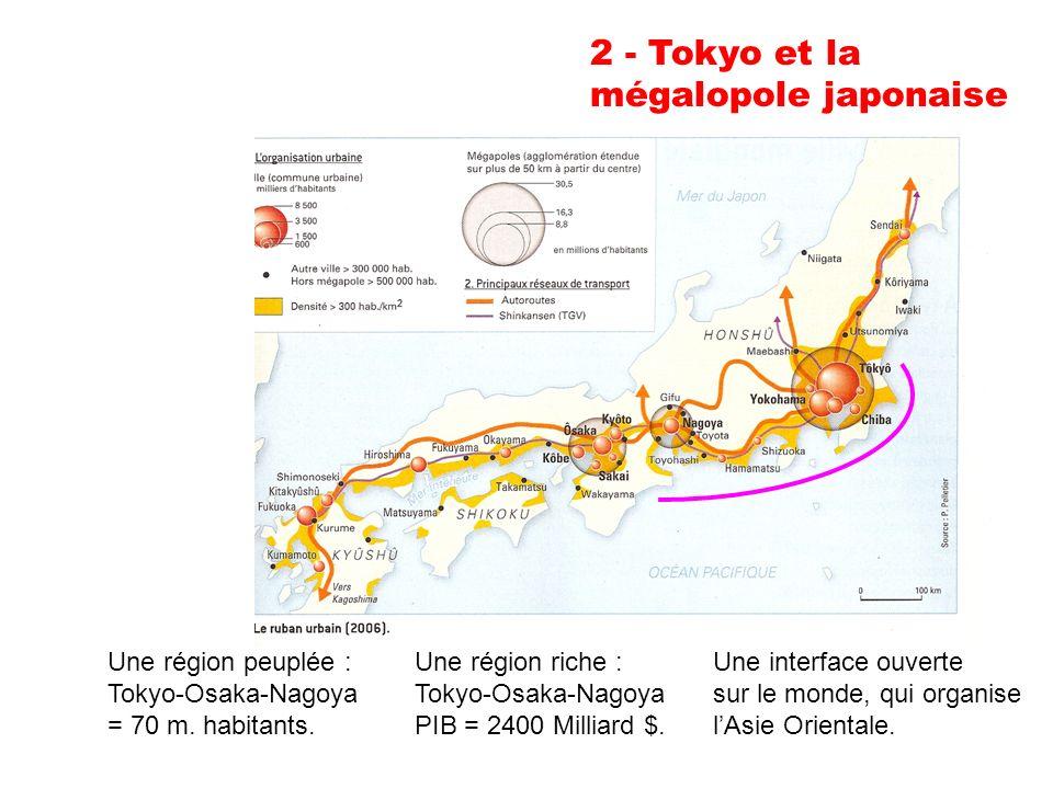 2 - Tokyo et la mégalopole japonaise Une région peuplée : Tokyo-Osaka-Nagoya = 70 m.