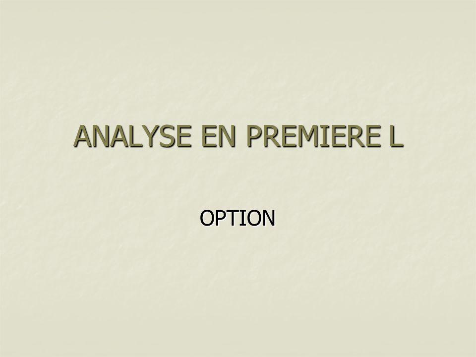 ANALYSE EN PREMIERE L OPTION
